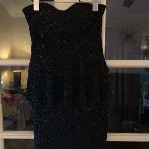Sparkling black strapless dress